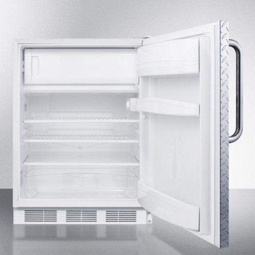 Built-in Undercounter Refrigerator-freezer for General Purpose Use, With Dual Evaporator Cooling, Diamond Plate Door, Tb Handle, and White Cabinet