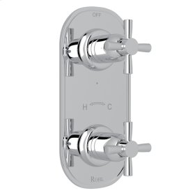 "Polished Chrome Perrin & Rowe Holborn 1/2"" Thermostatic/Diverter Control Trim with Holborn Cross Handle"