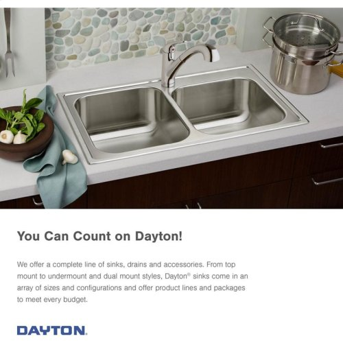 "Dayton Stainless Steel 27"" x 22"" x 8"", Single Bowl Dual Mount Sink"