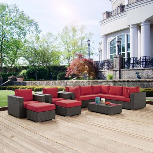 Sojourn 10 Piece Outdoor Patio Sunbrella® Sectional Set in Canvas Red