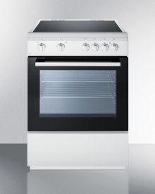 """24"""" Wide Smoothtop Electric Range In Slide-in Style and White Finish, With Storage Drawer and Large Oven Window"""