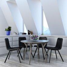 Mira 5pc Dining Set, Grey/Grey