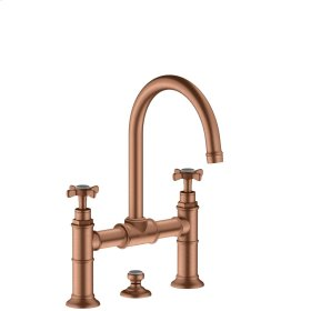 Brushed Red Gold 2-handle basin mixer 220 with cross handles and pop-up waste set