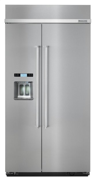 KitchenAid(R)25.5 cu. ft 42-Inch Width Built-In Side by Side Refrigerator - Stainless Steel