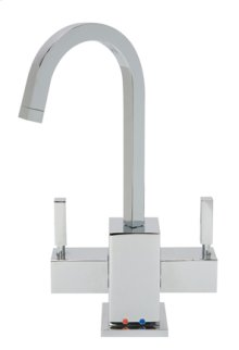 Hot & Cold Water Faucet with Contemporary Square Body & Handles - Brushed Nickel