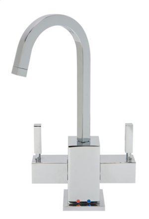 Hot & Cold Water Faucet with Contemporary Square Body & Handles - Brushed Nickel Product Image