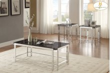 3-Piece Occasional Tables with Faux Marble Top Cocktail Table: 48 x 24 x 18H End Table: 22 x 22 x 22H