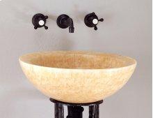 Beveled Round Sink, Polished Honey Onyx