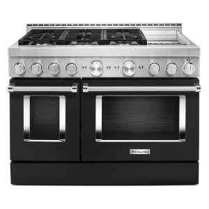 KitchenAid® 48'' Smart Commercial-Style Gas Range with Griddle - Imperial Black - IMPERIAL BLACK