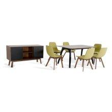 Modrest Laken Modern Walnut & Green Tea Dining Set