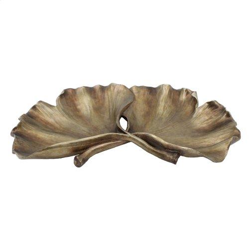 Resin Ginkgo Leaf Plate, Gold