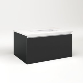 """Cartesian 30-1/8"""" X 15"""" X 21-3/4"""" Single Drawer Vanity In Matte Black With Slow-close Full Drawer and No Night Light"""