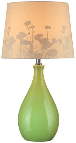 Table Lamp, Green Ceramic Body/silhouette Paper,e27 Cfl 13w