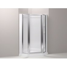 """Bright Silver Memoirs® Framed Neo-angle Shower Enclosure With Crystal Clear Glass, 37-11/16"""" - 38-7/16"""" X 72"""""""
