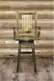 Homestead Captains Swivel Barstool - Stained and Lacquered