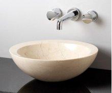 Beveled Round Sink, Polished Papiro Cream Marble