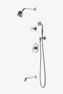 "Roadster Pressure Balance Shower Package with 3 1/4"" Shower Head, Handshower, Tub Spout and Diverter Tri-Spoke Handle STYLE: RDSP23"