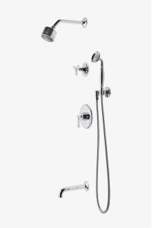"Roadster Pressure Balance Shower Package with 3 1/4"" Shower Head, Handshower, Tub Spout and Diverter Tri-Spoke Handle STYLE: RDSP23"