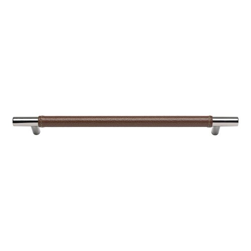 Zanzibar Brown Leather Pull 11 5/16 Inch (c-c) - Polished Chrome