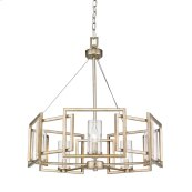 Marco 5 Light Chandelier in White Gold with Clear Glass