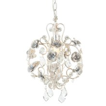 Small White Rose Chandelier with Beading. 25W Max.