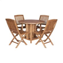 Teak Drop-leaf Game Table with 4 Chairs (Set of 5)