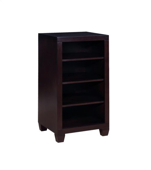 -4-SHELF BOOKCASE FINISHED IN CAPPUCCINO-CONSTRUCTED WITH SOLID PINE AND SAPGUM VENEER OVER MDF-MATCHES LOFT BUNK BED (#400327)