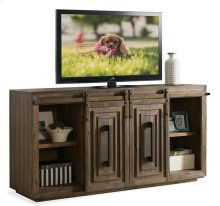 Modern Gatherings 72-Inch Sliding Door TV Console Brushed Acacia finish