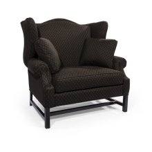 High Back Settee with Black Chippendale Base