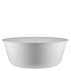 "Freestanding bath tub in Cristalplant® Matte white Waste included 22-7/16"" HIGH x 59-1/16"" DIAMETER CSA certified Please check if the capacity load of the slab is in comformity with the specifications Please contact Gessi North America for freight terms Product Image"
