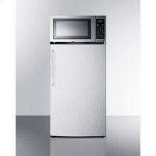 Compact Refrigerator-freezer-microwave Combination With Auto Defrost; Stainless Steel Microwave, Refrigerator-freezer Has Black Cabinet and Stainless Steel Door