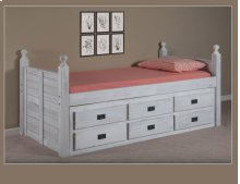 Twin Panel Post Captain Bed w/Six-Drawer Unit, EX91 & Queen Rails
