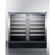 """36"""" Wide ADA Compliant 68 Bottle Built-in Dual Zone Wine Cellar With Two Seamless Stainless Steel Trimmed Glass Doors, Digital Controls, and Locks"""