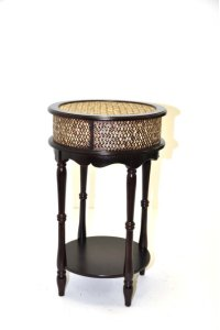 Espresso Wooden & Rattan Night Stand- 17.5x29 Product Image