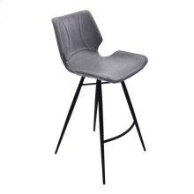 """Armen Living Zurich 30"""" Bar Height Metal Barstool in Vintage Gray Pu and Black Metal Finish"""