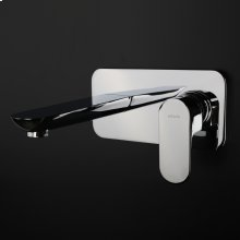 Wall-mount two-hole faucet with one level handle and backplate. Includes rough-in and trim.