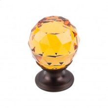 Amber Crystal Knob 1 1/8 Inch - Oil Rubbed Bronze