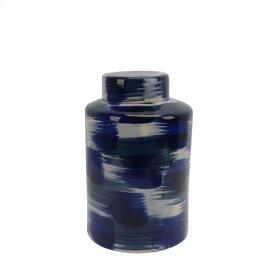 "Ceramic Jar W/ Lid 13.5"", White/blue"