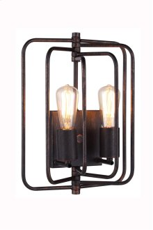 "1454 Lewis Collection Wall Lamp W:10"" H:13"" E:6"" Lt:2 Dark Bronze Finish"