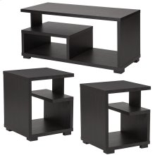 Morristown Collection 3 Piece Coffee and End Table in Espresso Finish