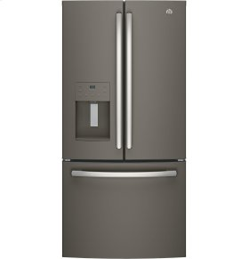 GE 4pc. Slate kitchen package with 23.8 cu.ft. full depth dispensing French door fridge and slide-in front control convection gas range