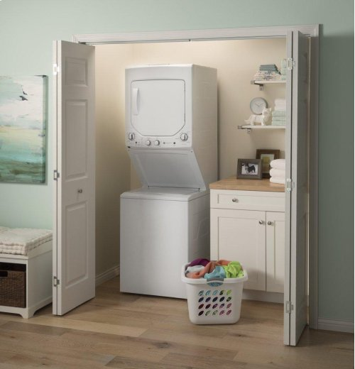 GE Unitized Spacemaker® 2.3 DOE cu. ft. Capacity Washer with Stainless Steel Basket and 4.4 cu. ft. Capacity Gas Dryer