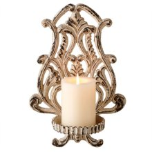Distressed Ivory Scroll Pillar Wall Sconce.