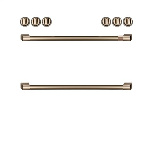 Café Front Control Induction Knobs and Handles - Brushed Bronze