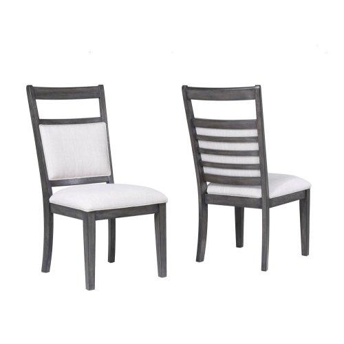 DLU-EL-C90-2  Upholstered Slat Back Dining Chair  Set of 2  Gray