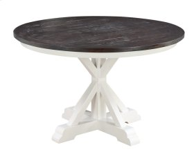 "Mountain Retreat - Complete 48"" Round Dining Table-top Dark Pine-base Antique White"