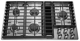 """36"""" 5 Burner Gas Downdraft Cooktop - Stainless Steel"""