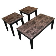 Black Faux Marble Coffee & End Table Set