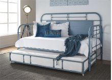 Twin Metal Day Bed w Trundle - Blue