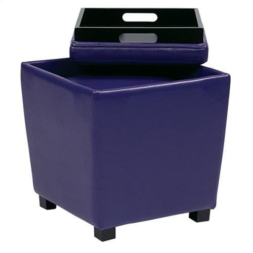 2-piece Purple Vinyl Ottoman Set